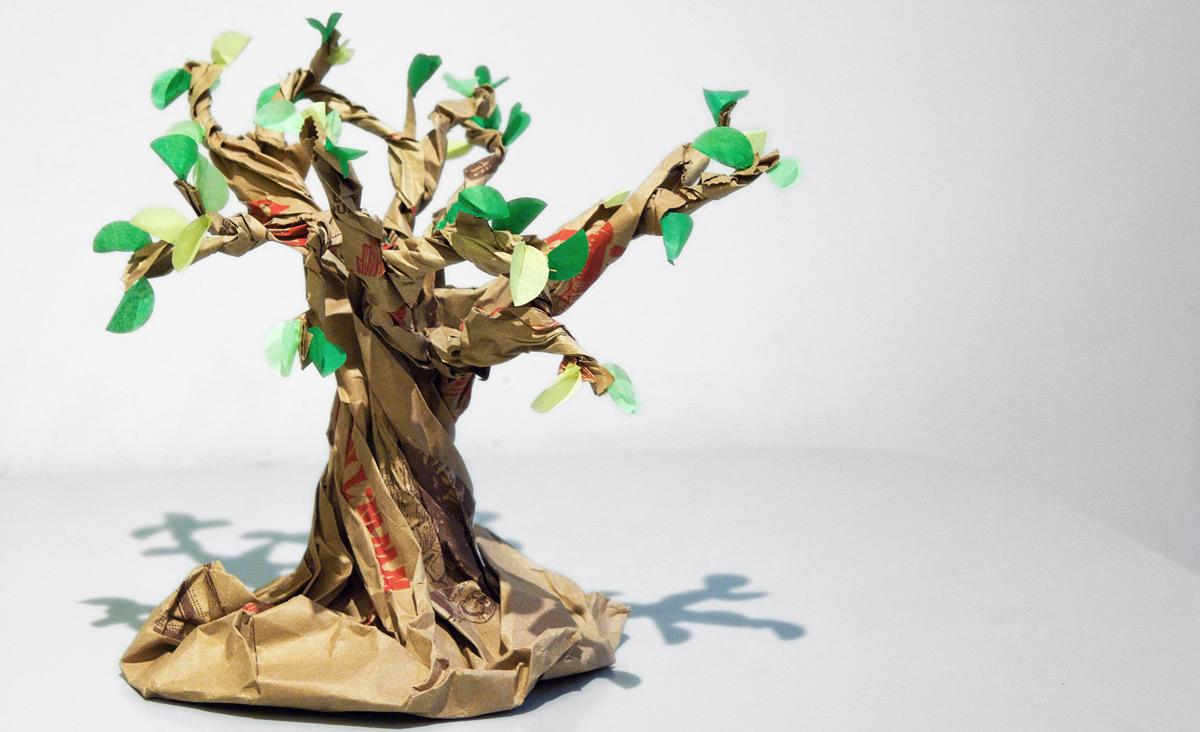 A paper bag bonsai tree. Rachel Pasch/Flickr.
