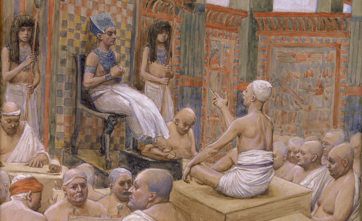 From Joseph Interprets Pharaoh's Dream, c. 1896-1902, byJames Jacques Joseph Tissot. Via the Jewish Museum.
