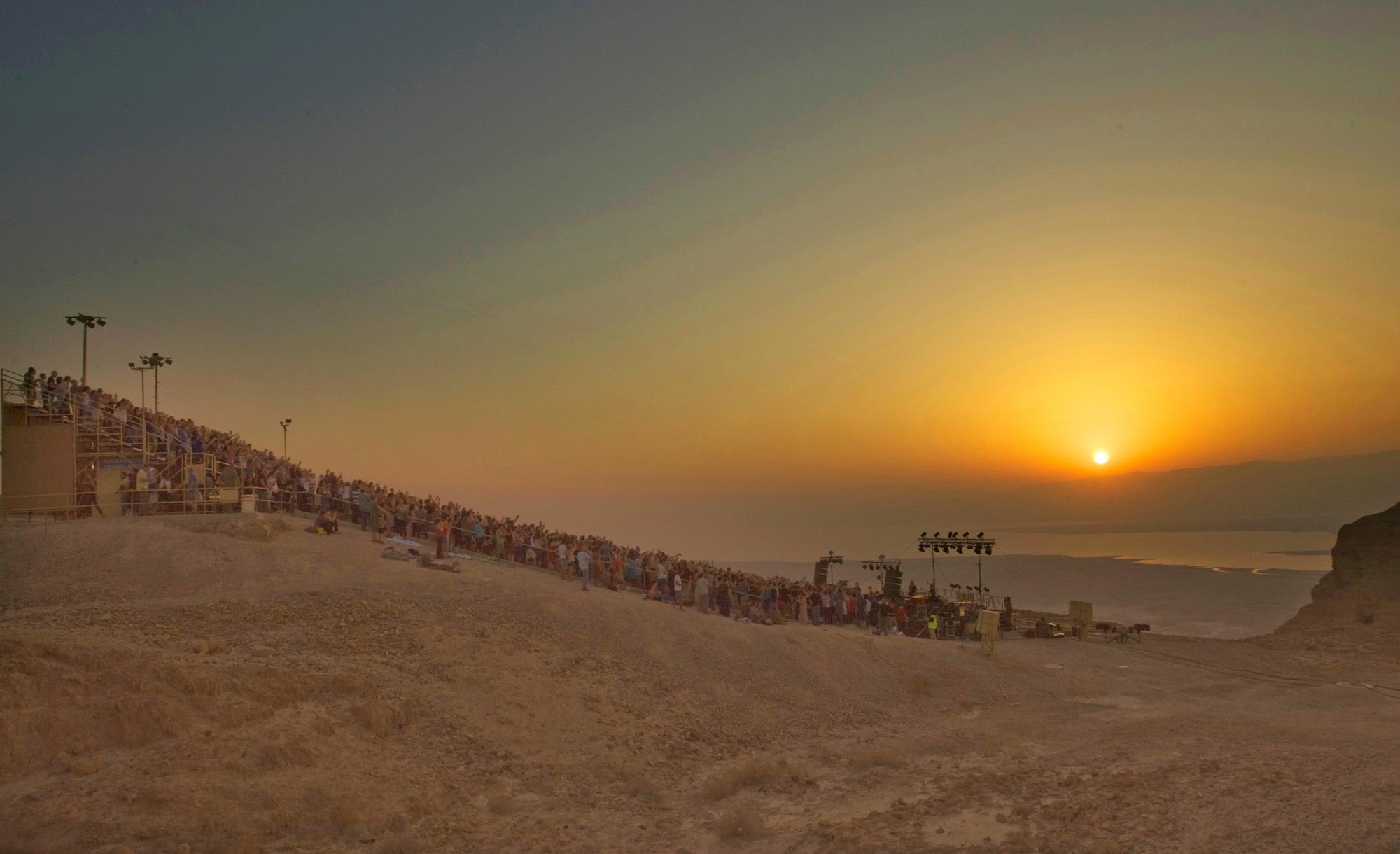The Israeli musician David Broza performing at Masada on Tu b'Av in 2012. Avinoam Michaeli/Piki Wiki.