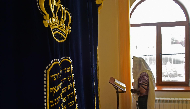 A man at a synagogue inthe Russian city of Pyatigorsk. Anton PodgaikoTASS via Getty Images.