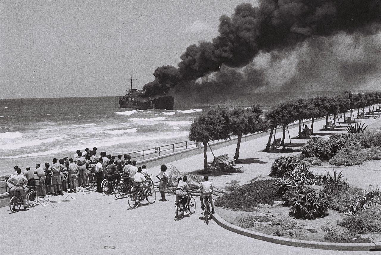 TheAltalena on fire after being shelled near Tel Aviv in June 1948. Wikipedia.