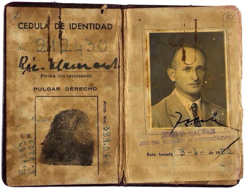 Adolf Eichmann's Argentinian ID, under the alias Ricardo Klement, found on him the night of his abduction. Yad Vashem.